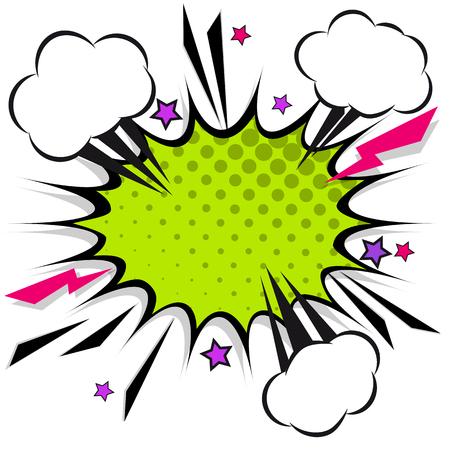 Illustration pour Retro comic design speech bubbles. Flash explosion with clouds, lightning, stars. Pop art vector elements. - image libre de droit