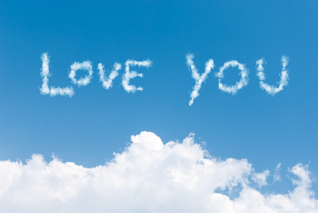 Blue sky background with love you clouds word