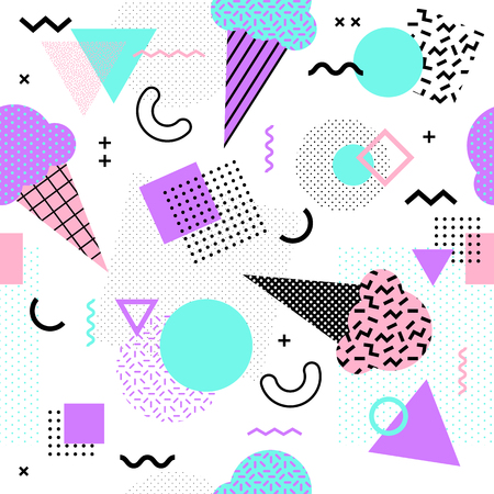 Illustration pour Memphis seamless pattern with ice cream cone and geometric different shapes colorful 80's-90's style. Vector Illustration - image libre de droit