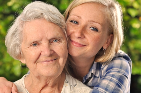 Photo pour Grandmother and granddaughter   - image libre de droit