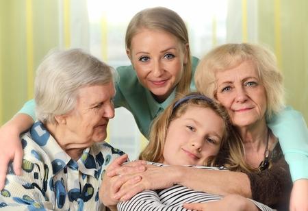 Photo pour Four generations of women. Happy family. - image libre de droit