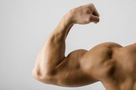 Foto de Close up on a bodybuilder biceps,shoulder,arm - Imagen libre de derechos