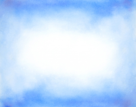 Photo for Abstract hand drawn watercolor background  blue sky and white clouds - Royalty Free Image