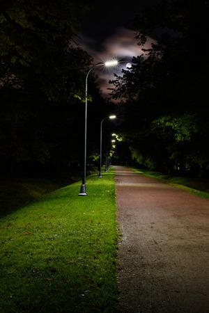 Photo pour Walkway lane path at night, moonlit park alley. - image libre de droit