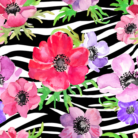 Illustration for Abstract Geometric seamless pattern whith flowers drawing watercolor. Vector illustration. - Royalty Free Image