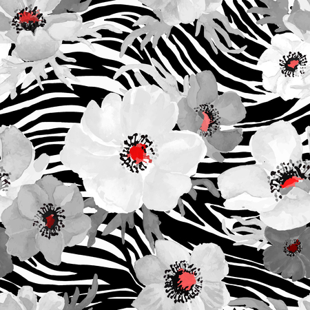 Illustration pour Abstract Geometric seamless zebra pattern with white and gray flowers drawing watercolor. Vector illustration. - image libre de droit