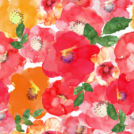 Illustration pour Abstract seamless watercolor hand painted background. Isolated red, orange, yellow flowers and green leafs. Vector illustration. - image libre de droit