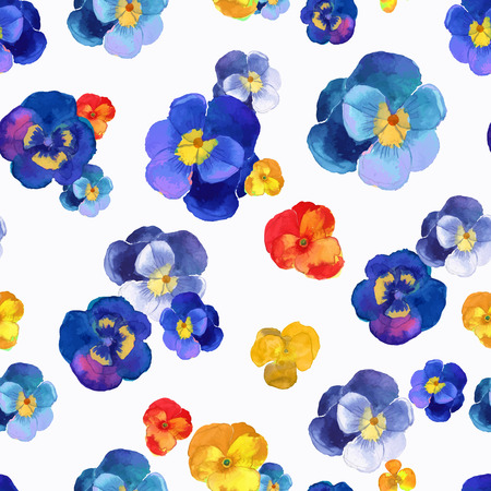 Ilustración de Vector illustration of floral seamless.Blue, red and yellow flowers on a white background, drawing watercolor. - Imagen libre de derechos