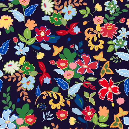 Illustration pour Abstract seamless pattern with hand drawing isolated flowers. Vector illustration. - image libre de droit