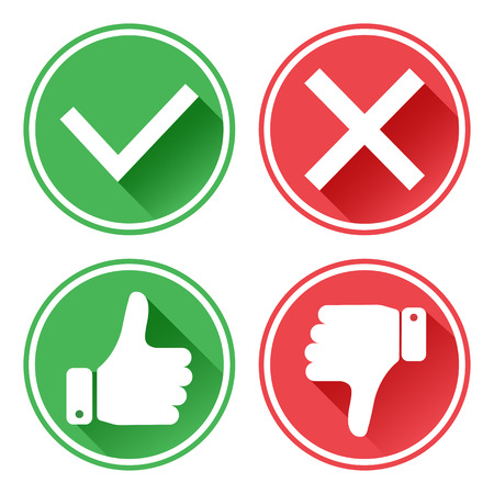 Illustration pour Set red and green icons. Thumb up and down. I like and dislike. Yes and no. Vector illustration. - image libre de droit