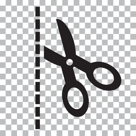 Ilustración de Black scissors with cut lines on transparent background Vector illustration - Imagen libre de derechos