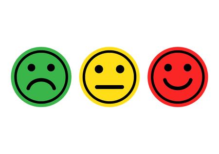 Ilustración de Green, yellow, red smileys emoticons icon positive, neutral and negative, different mood vector illustration - Imagen libre de derechos