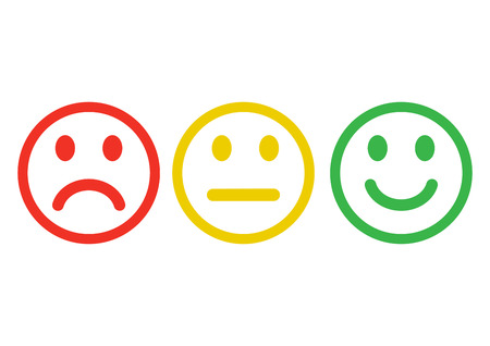 Illustration pour Red, yellow, green smileys emoticons icon negative, neutral and positive, different mood. Outline design. Vector illustration. - image libre de droit