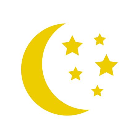 Ilustración de Moon and stars, yellow sleep icon. Vector illustration - Imagen libre de derechos