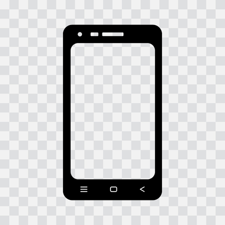 Illustration pour Black mobile phone icon on transparent background. Vector illustration - image libre de droit