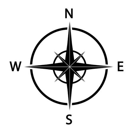 Ilustración de Compass icon. Black silhouette illustration. - Imagen libre de derechos