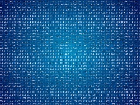 Illustration pour Blue screen computer binary code listing table background - image libre de droit