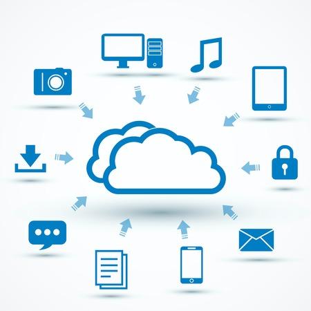 Illustration pour Cloud computing concept vector illustration with icons - image libre de droit