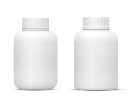 Illustration for Vector Blank Big Size Plastic Packaging Bottles with Cap for Cosmetics, Vitamins, Pills or Capsules - Royalty Free Image