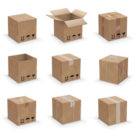 Illustration pour Opened and closed old, worn and new cardboard boxes. Vector illustration set - image libre de droit