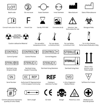 Ilustración de Vector Set of International Medical Package Symbols with Title. - Imagen libre de derechos
