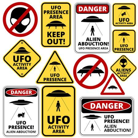 Illustration pour Humorous danger road signs for UFO, aliens abduction theme, vector illustration - image libre de droit