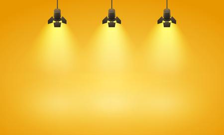 Illustration pour Studio spotlight yellow background with lamps - vector EPS 10 illustration - image libre de droit