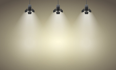 Illustration for Studio spotlight brown yellow background with lamps  - Royalty Free Image