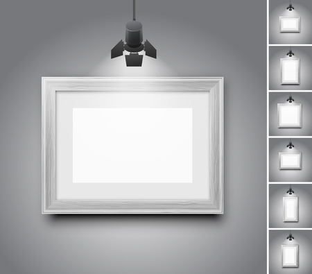 Illustration pour Blank studio wall and white wooden picture frame under light lamp - set of realistic vector illustrations - image libre de droit