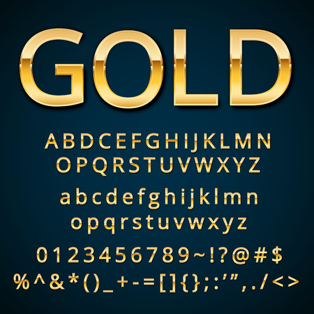 Illustration for Gold letter, alphabetic fonts  with numbers and symbols. - Royalty Free Image