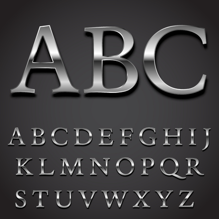 Illustration for Silver font Vector set -  uppercase letters character part - Royalty Free Image