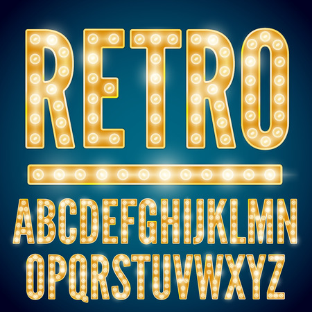Ilustración de Realistic vector lamps alphabet, font set, retro style, yellow gold colors. - Imagen libre de derechos
