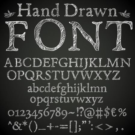 Illustration for Hand drawn pencil or chalk sketched font: letters, numbers and symbls, vector - Royalty Free Image