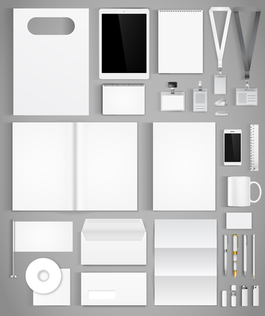 Illustration pour Blank white design template of corporate identity  with big set of business stationery. Vector illustration - image libre de droit