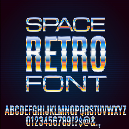 Photo for Retro Future Chrome Space Sci-Fi Movies Style Chrome Typeface in 80s Retro Futurism style. Vector font - Royalty Free Image