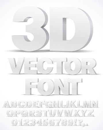 Illustration for 3D alphabet vector font with type letters and numbers - Royalty Free Image