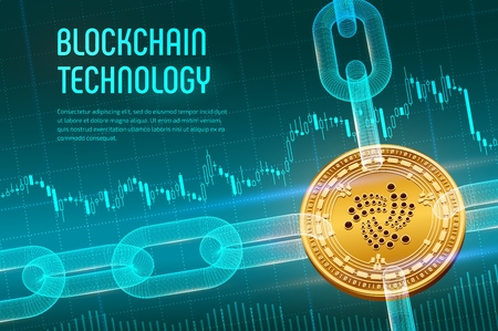 Illustration for Iota. Crypto currency. Block chain. 3D isometric Physical golden Iota coin with wireframe chain on blue financial background. Blockchain concept. Editable Cryptocurrency template. Vector illustration - Royalty Free Image