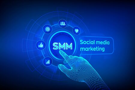 Illustration pour SMM. Social media marketing. Likes, comments, followers and message icons on virtual screen. Robotic hand touching digital interface. Business and internet concept. Vector illustration - image libre de droit