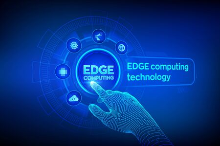 Illustration pour Edge computing modern IT technology on virtual screen concept. Edge computing industry 4.0 concept. Internet of things. Robotic hand touching digital interface. Vector illustration - image libre de droit