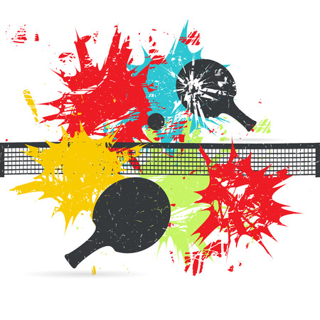 Ilustración de Ping-pong posters design. Background with color spots. Grunge vector illustration - Imagen libre de derechos