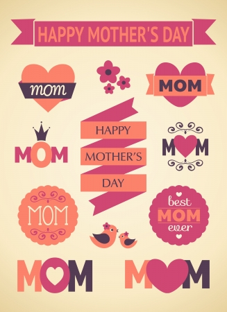 A set of cute design elements for Mother s Day