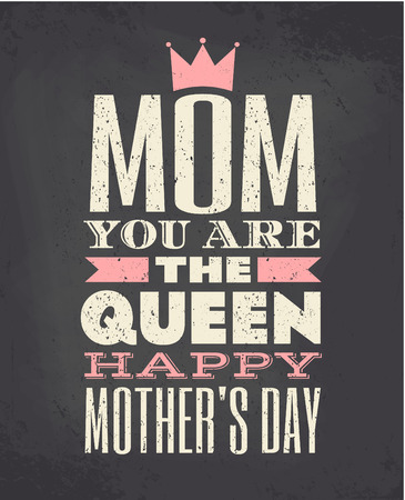 Chalkboard style typographic design greeting card for Mother s day