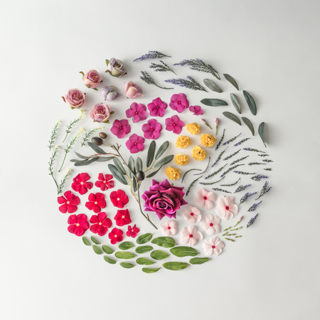 Foto de Creative layout made of various flowers. Flat lay. Nature background - Imagen libre de derechos