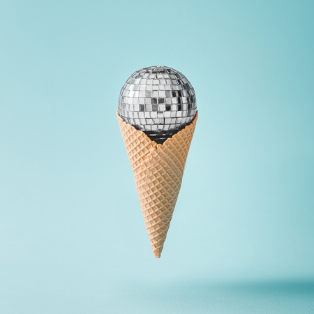 Photo pour Disco ball ice cream on bright blue background. Minimal party concept. - image libre de droit