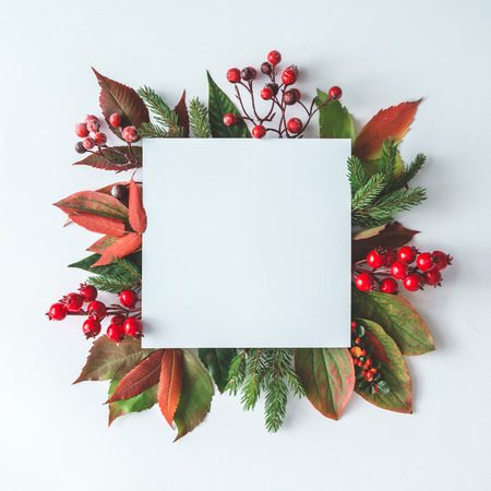 Photo pour Creative Christmas layout made of natural winter decoration. Flat lay. Nature New Year concept. - image libre de droit