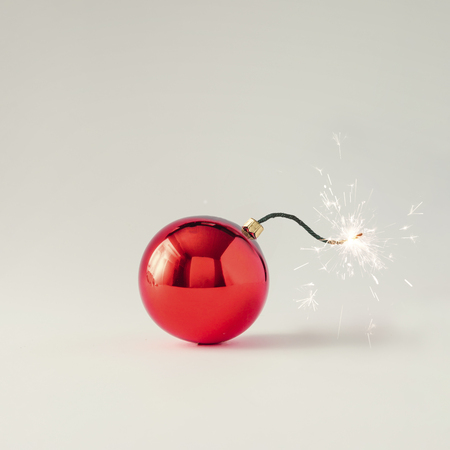 Photo pour Christmas bauble decoration fuse bomb. Time for celebration. New Year concept. - image libre de droit