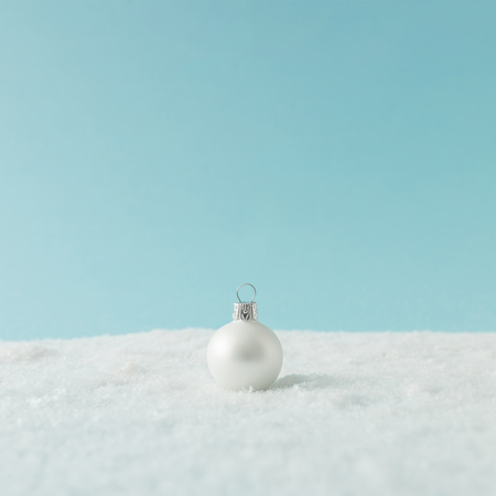 Foto de Creative layout made of Christmas bauble decoration on snow. Holiday background. - Imagen libre de derechos