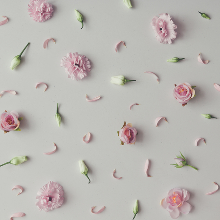 Photo for Creative pattern made of violet and pink flowers. Flat lay. Minimal season background. - Royalty Free Image