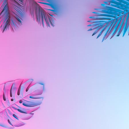 Photo pour Tropical and palm leaves in vibrant bold gradient holographic neon  colors. Concept art. Minimal surrealism background. - image libre de droit