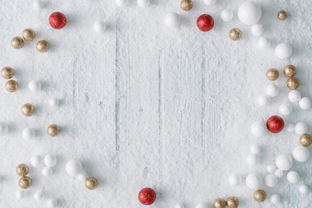 Photo pour Christmas background composition with snow and decoration.New Year Flat lay. Top view. - image libre de droit